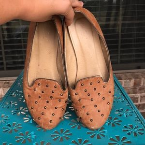 Wanted Microsuede Tan Studded Loafer Slip On Flats